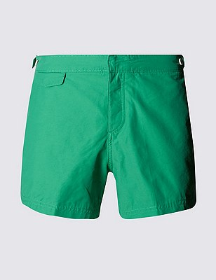 Tailored FitShortLengthQuick Dry Swim Shorts, GREEN, catlanding