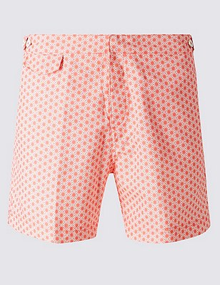 Quick Dry Tailored Fit Star Print Swim Shorts, CORAL, catlanding
