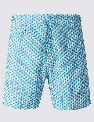 Quick Dry Tailored Fit Star Print Swim Shorts, BLUE, catlanding