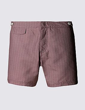 Quick Dry Puppytooth Print Swim Shorts , WINE, catlanding