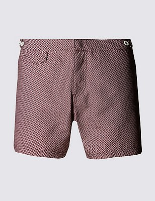 Quick Dry Geometric Print Swim Shorts , WINE, catlanding