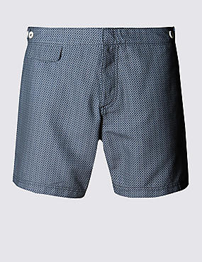 Quick Dry Puppytooth Print Swim Shorts , NAVY, catlanding