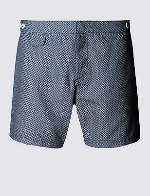 Quick Dry Geometric Print Swim Shorts , NAVY, catlanding