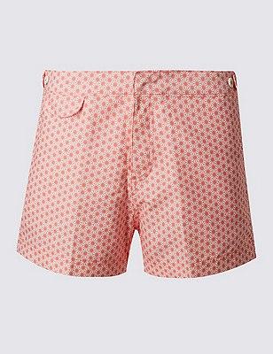 Quick Dry Geometric Print Swim Shorts, CORAL, catlanding