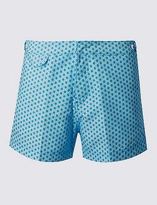 Quick Dry Geometric Print Swim Shorts, BLUE, catlanding