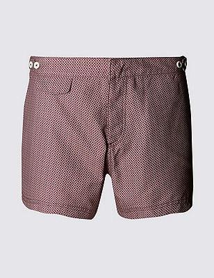 Quick Dry Tailored Fit Puppytooth Print Swim Shorts, WINE, catlanding