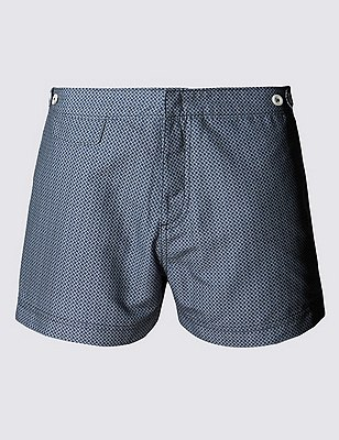Quick Dry Tailored Fit Puppytooth Print Swim Shorts, NAVY, catlanding