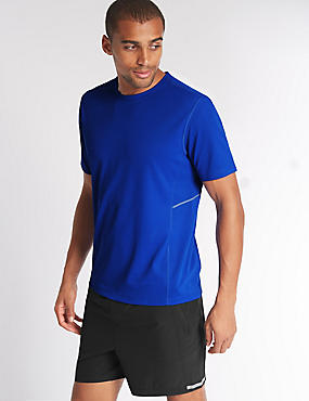 Quick Dry Active Mesh T-shirt with Reflective Trim, BRIGHT BLUE, catlanding