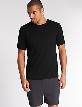 Quick Dry Active Mesh T-shirt with Reflective Trim, BLACK, catlanding