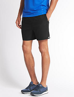 Quick Dry Active Shorts with Secure Pocket, BLACK, catlanding