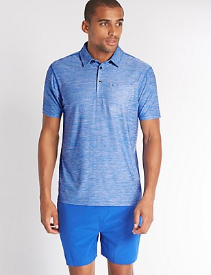 Slim Fit Active Polo Shirt with Quick Dry, BLUE MIX, catlanding