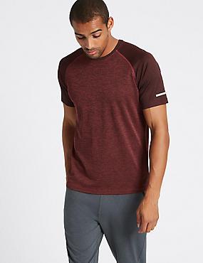 Slim Fit Textured Crew Neck T-Shirt, RED, catlanding