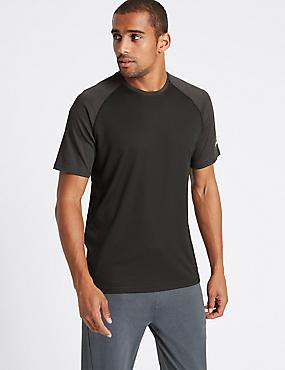 Slim Fit Textured Crew Neck T-Shirt, BLACK, catlanding