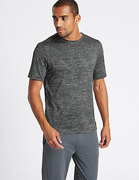 Slim Fit Textured Crew Neck T-Shirt, DARK GREY, catlanding
