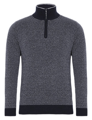 Wool Rich Birdseye Jumper with Cashmere Clothing