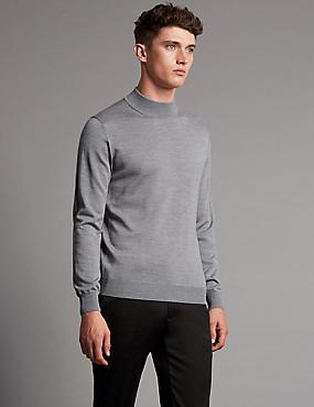 Merino Wool Blend Slim Fit Jumper, GREY, catlanding