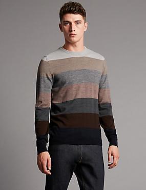 Merino Wool Blend Striped Slim Fit Jumper , MULTI, catlanding