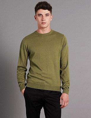 Slim Fit Textured Yoke Jumper with Wool, WINTER LIME, catlanding