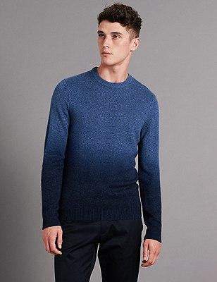 Twist Dip Dye Slim Fit Jumper with Wool, BLUE MIX, catlanding