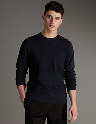 Slim Fit Stitched Crew Neck Jumper, INDIGO MIX, catlanding