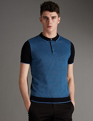 Pure Cotton Slim Fit Geometric Jacquard Jumper, NAVY MIX, catlanding