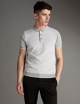 Pure Cotton Slim Fit Geometric Jacquard Jumper, GREY MIX, catlanding