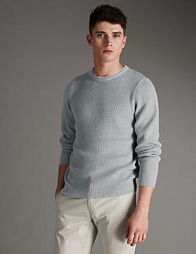 Pure Cotton Slim Fit Honeycomb Textured Jumper