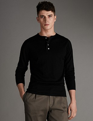 Merino Wool Blend Grandad Collar Slim Fit Jumper, BLACK, catlanding