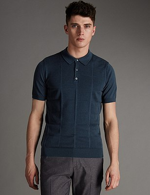 Pure Merino Wool Square Patterned Knitted Polo Shirt, BLUE, catlanding