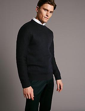 Merino Wool Blend Textured Slim Fit Jumper, BLACK MIX, catlanding