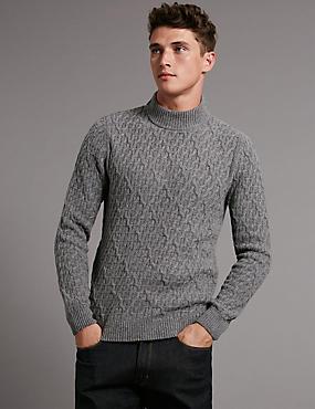 Wool Rich Textured Long Sleeve Jumper, GREY, catlanding