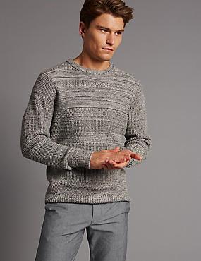 Pure Cotton Textured Slim Fit Jumper, GREY MIX, catlanding