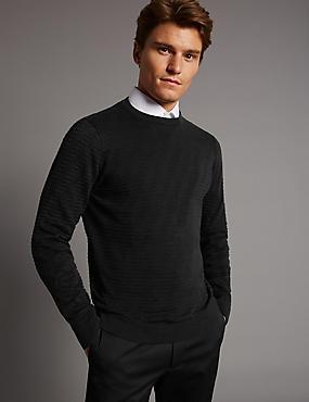 Pure Cotton Textured Slim Fit Jumper, BLACK MIX, catlanding