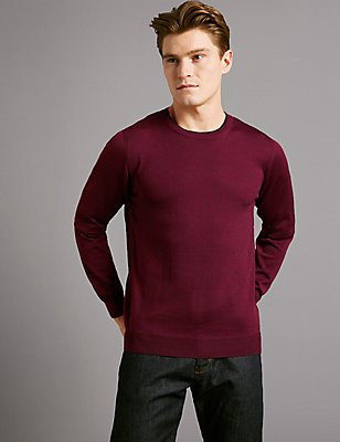 Pure Merino Wool Textured Crew Neck Jumper, RED MIX, catlanding