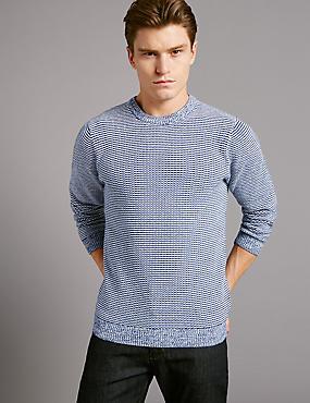 Pure Cotton Textured Slim Fit Jumper, SLATE BLUE, catlanding