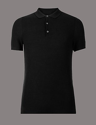 Slim Fit Pure Cotton Textured Polo Shirt, NAVY, catlanding