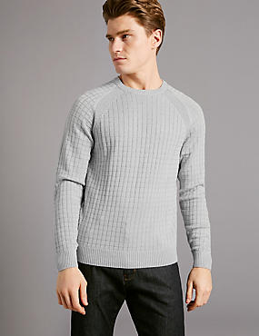 Cotton Blend Checked Slim Fit Jumper, GREY, catlanding