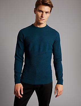 Pure Merino Wool Striped Slim Fit Jumper, TEAL, catlanding