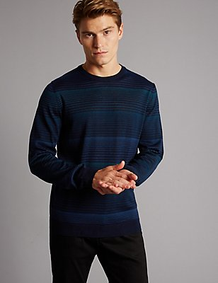 Merino Wool Blend Striped Slim Fit Jumper, NAVY MIX, catlanding
