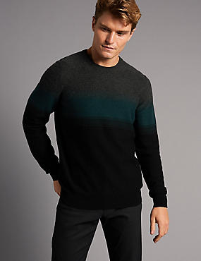 Wool Rich Colour Block Slim Fit Jumper, BLACK MIX, catlanding