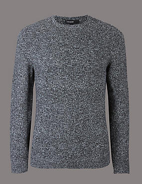 Textured Crew Neck Jumper, CHARCOAL, catlanding