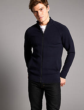 Slim Fit Zipped Through Cardigan, NAVY, catlanding