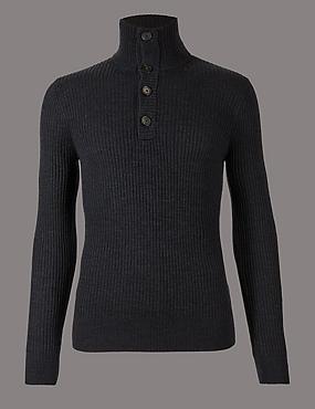 Merino Wool Rich Textured Jumper, GREY MIX, catlanding