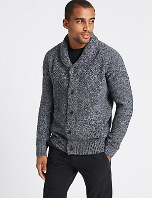 Shawl Neck Textured Cardigan, BLUE MIX, catlanding