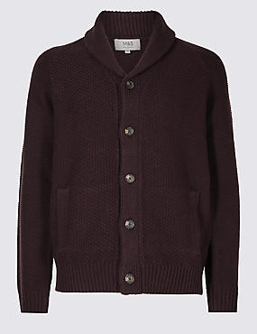 Shawl Neck Textured Cardigan, DARK AUBERGINE, catlanding