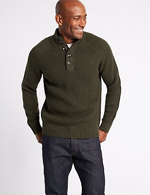 Textured Funnel Neck Jumper, DARK EVERGREEN, catlanding