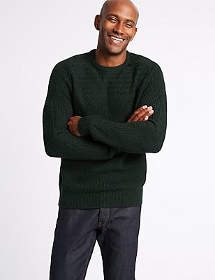 Textured Yoke Crew Neck Jumper, DARK TEAL, catlanding