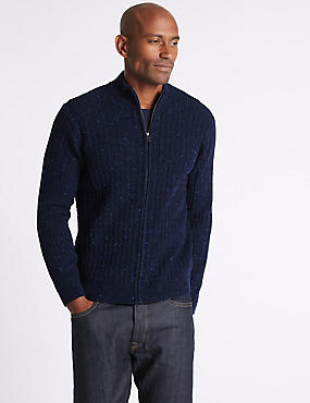 Wool Blend Cable Zipped Through Cardigan, NAVY, catlanding