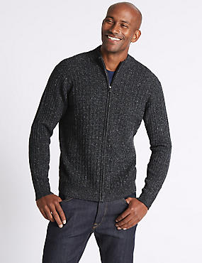 Wool Blend Cable Zipped Through Cardigan, CHARCOAL MIX, catlanding