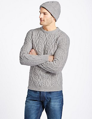 Cable Jumper with Hat, LIGHT GREY MIX, catlanding